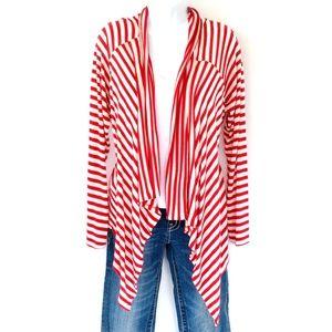 ELLEN TRACY Red & White Stripe Open Cardigan